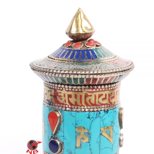 Turquoise Stone Setting Pray Mantra decorated 5.8 Inch Tall Table Prayer Wheel