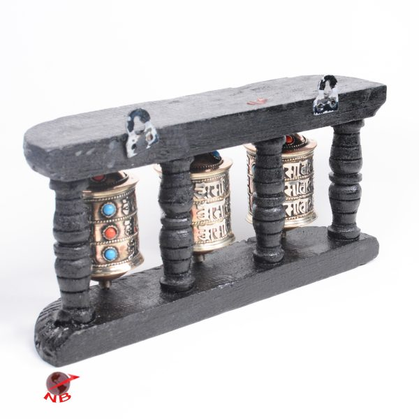 Triple Line Om Mani Mantra Carving 3 Wheels in 1 Prayer Wheel Craft for Wall Hanging Buddha Prayer Wheel