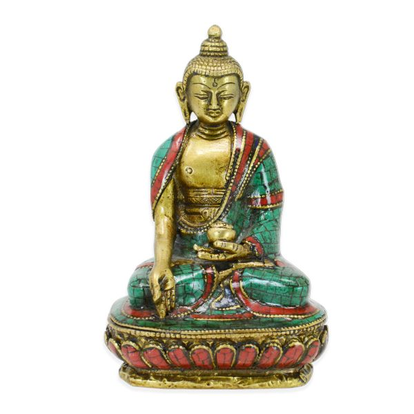 Hand Setting Brass 7 Inch Tall Buddha Statue Craft
