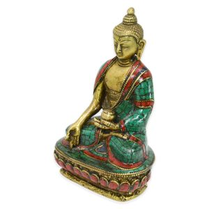 Hand Setting Brass 7 Inch Tall Buddha Statue Craft